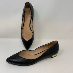 Tory Burch Black Nicki Leather Flats, Sz 9.5